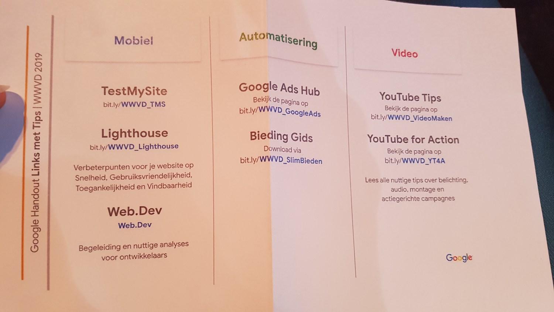 Google Tips Webwinkel vakdagen 2019