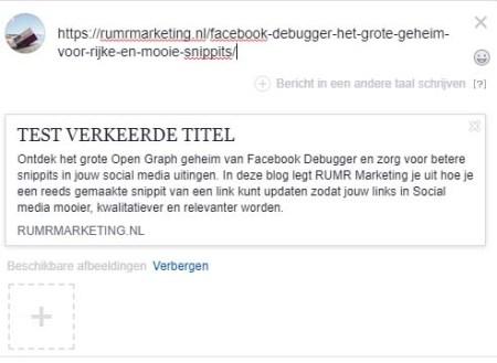 Verkeerde-snippit-Facebook-debugger