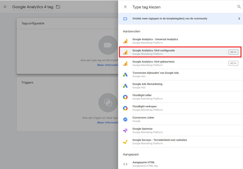 Google Analytics 4 - Stap 8 implementatie